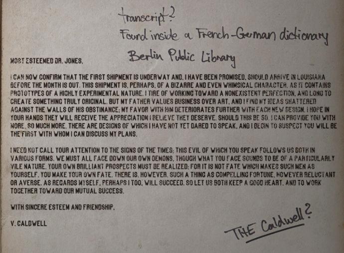 Письмо доктору Джонсу от Колдуэлла