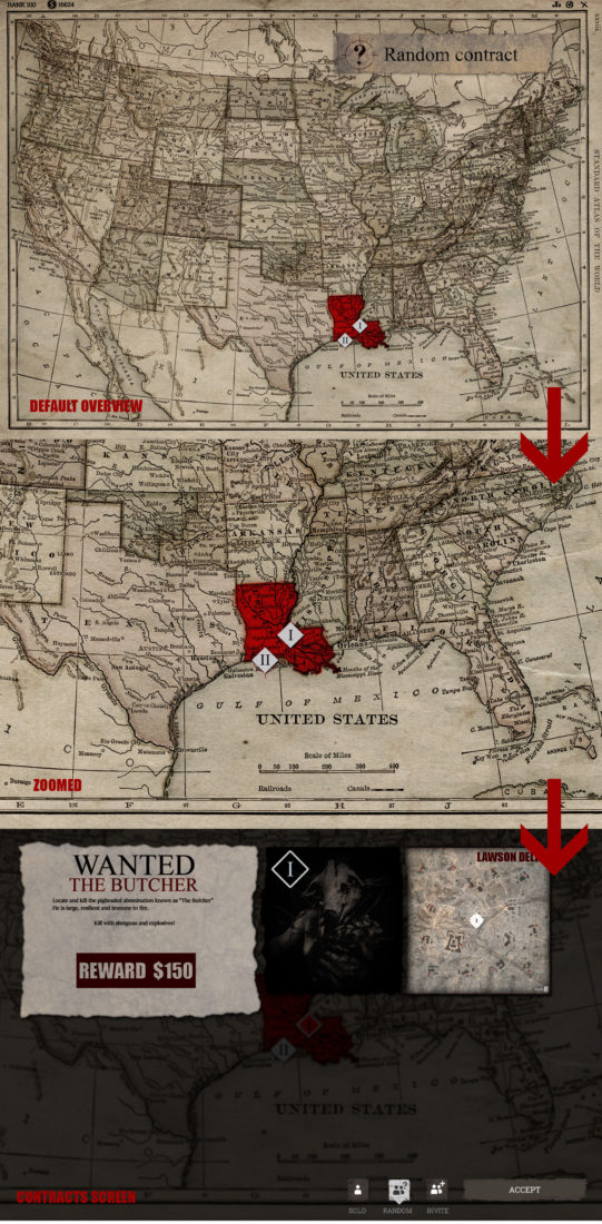 Карта США при выборе контракта в Hunt: Showdown