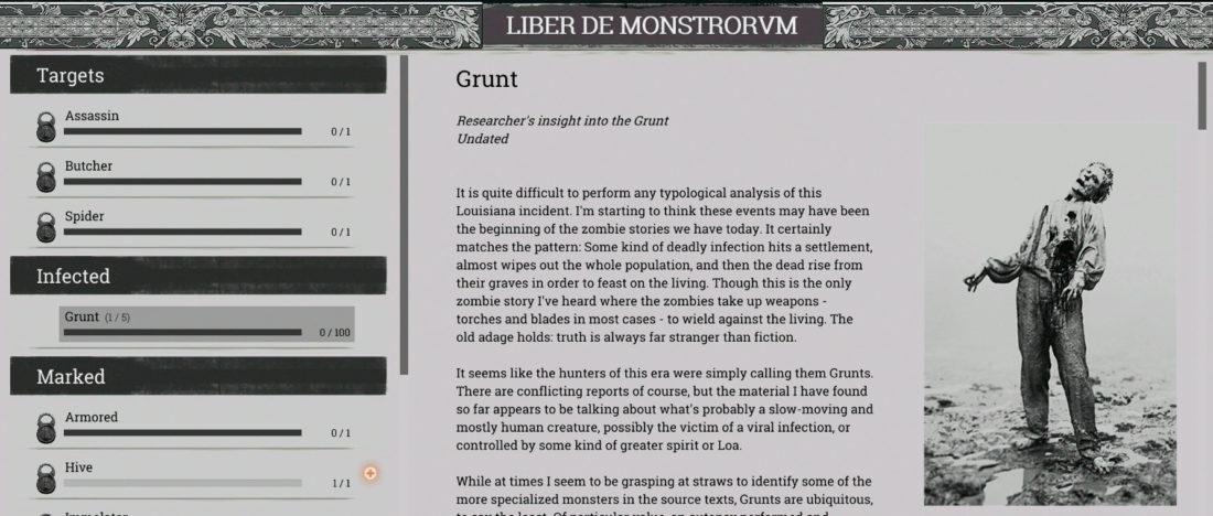 Пример страницы из «Книги монстров» (LIBER DE MONSTRORVM) в игре Hunt: Showdown