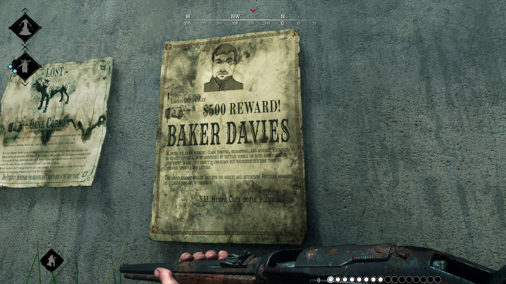 Объявление о розыске преступника Бейкера Дэвиса в Hunt: Showdown