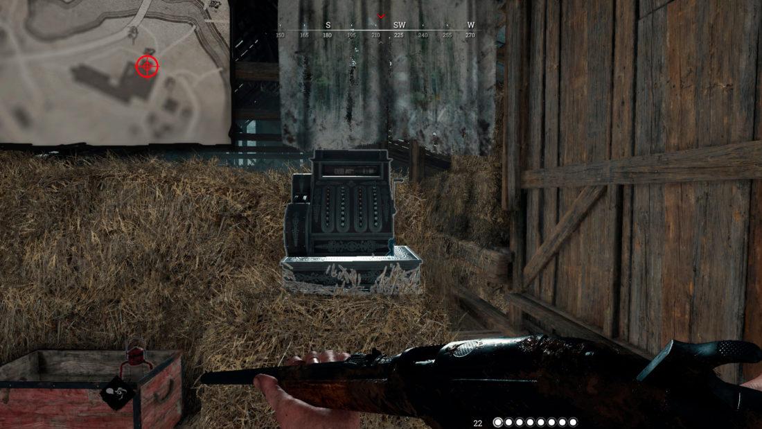 Кассовый аппарат на Davant Ranch в Логове на лестничной площадке