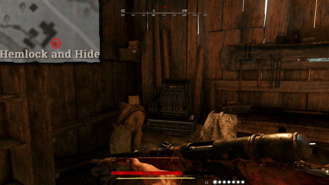 Касса в пристройке, ближайшей к забору от края карты на Hemlock and Hide