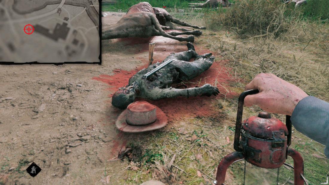 Прихвостень, убитый разломанным ружьем, на Davant Ranch
