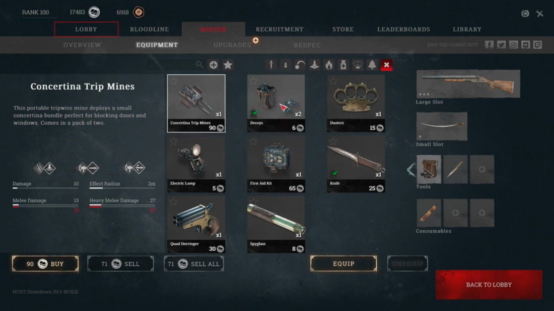 Снаряжение в Hunt: Showdown