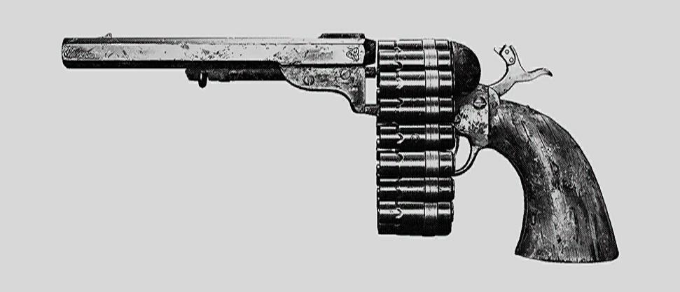 """Револьвер Caldwell Conversion Chain Pistol. Изображение из """"Книги оружия"""""""