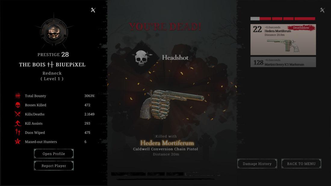 Новый экран смерти в Hunt: Showdown