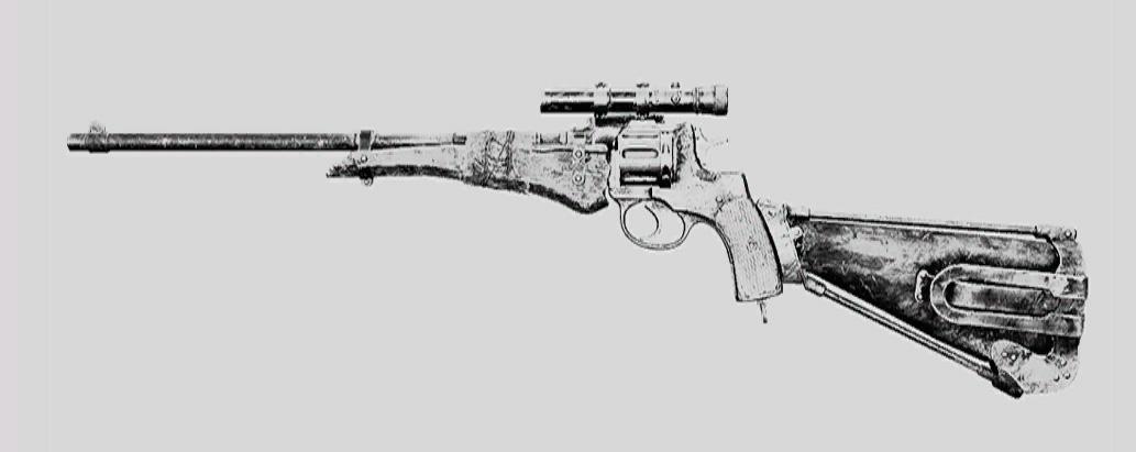 """Револьвер Nagant M1895 Officer Carbine Deadeye в Hunt: Showdown. Изображение из """"Книги оружия"""""""