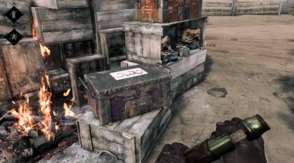 Special Ammo Box на точке пополнения припасов. Надпись на ящике расшифровывается как AHA, т.е. Американская ассоциация охотников.